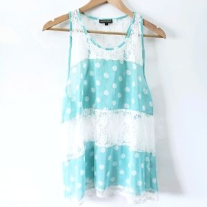 Dots and Lace Turquoise Blouse Sleeveless
